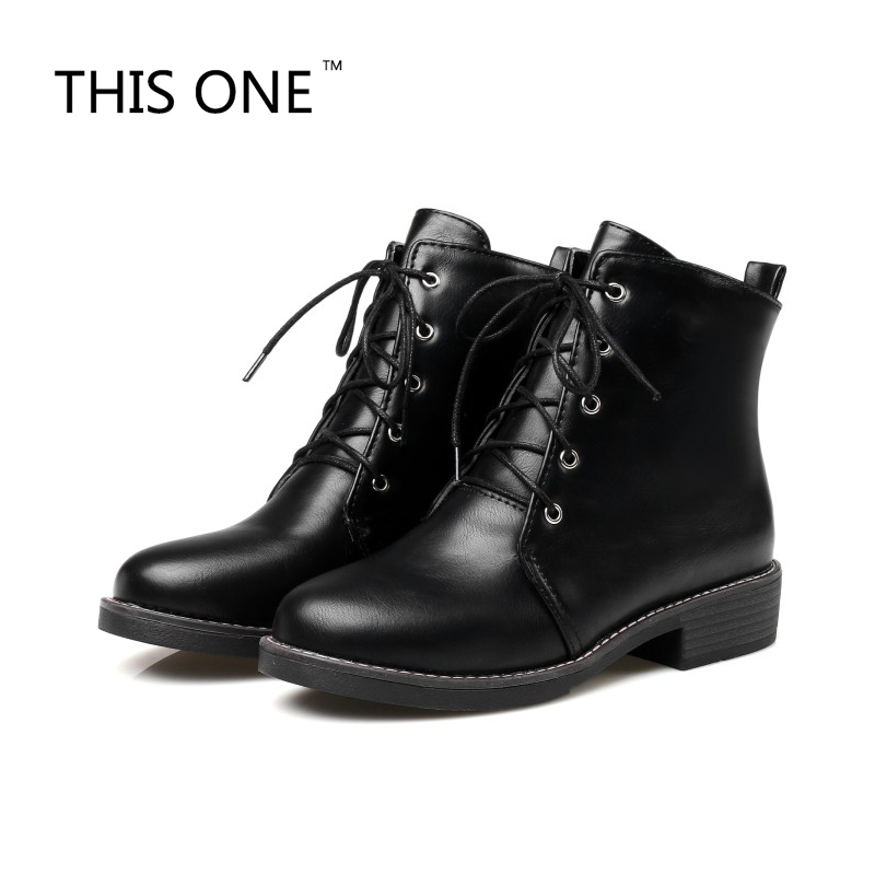 Women Boots Lace Up Flat Military Army
