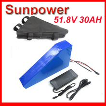 1000W 51.8V 30AH Electric Bicycle Battery 52V Triangle Lithium Battery 52V 30AH E-bike battery+ BMS + charger For Samsung CELL