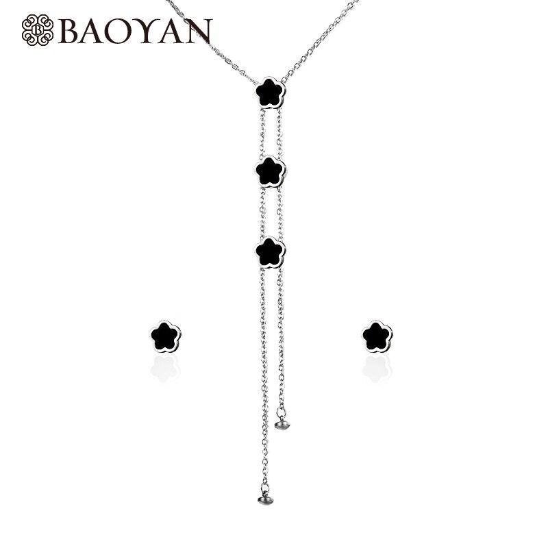 """""""Baoyan"""" 316L nerūdijančio plieno mados """"prašmatnus"""" ponios sidabrinės spalvos juodas gėlių kotas Y formos """"Lariat"""" ilgomis karoliais didmeninė prekyba"""