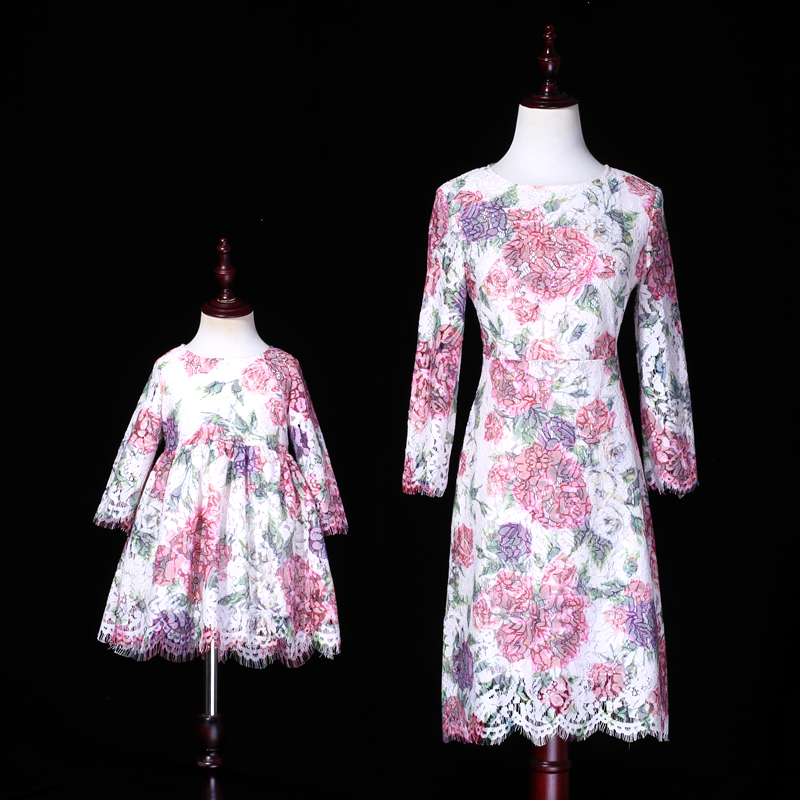 цена на Summer family matching clothing kids girls peony rose print dress mommy and me mother daughter evening party formal lace dresses