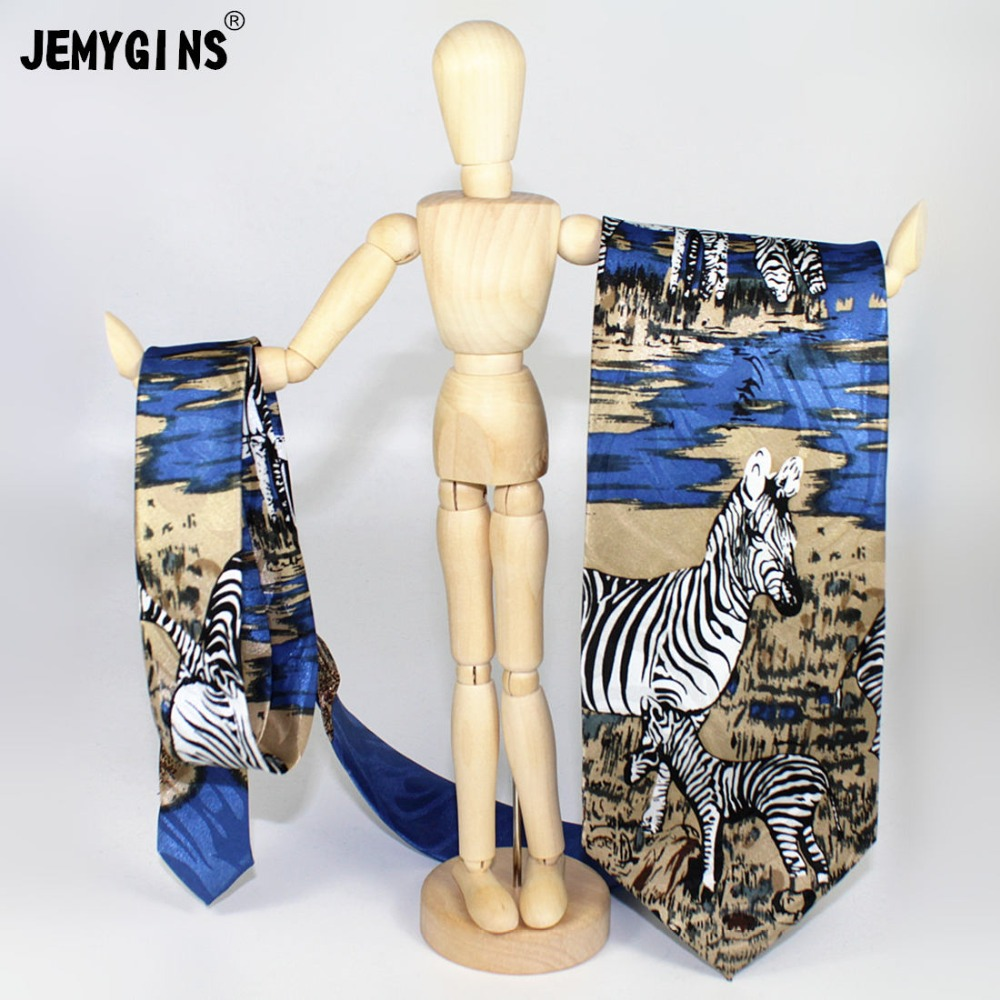 JEMYGINS Original Design Men Silk Printed Necktie Fashion Novelty Animal Neck Tie For Party Star 4 inch Normal Size Tie