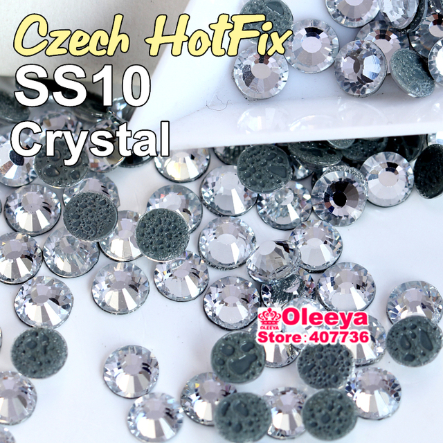 Imitation Similar Czech Hot Fix Rhinestone SS10 Clear Crystal 1440pcs/Bag Round FlatBack Loose Strass With Bubble Glue Y6066