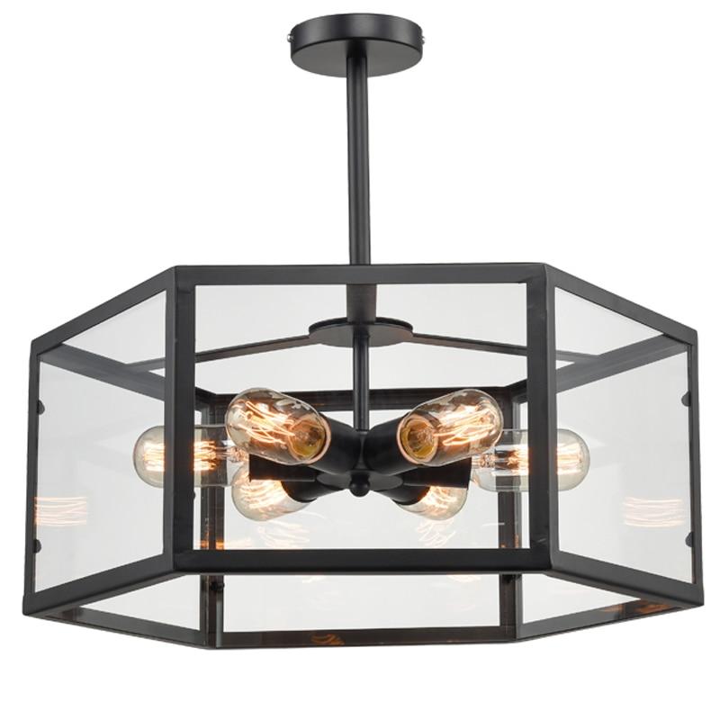 Industrial led pendant lights glass lamp with 6 edison bulbs for kitchen bar living room, modern hanging lights fixtures , black