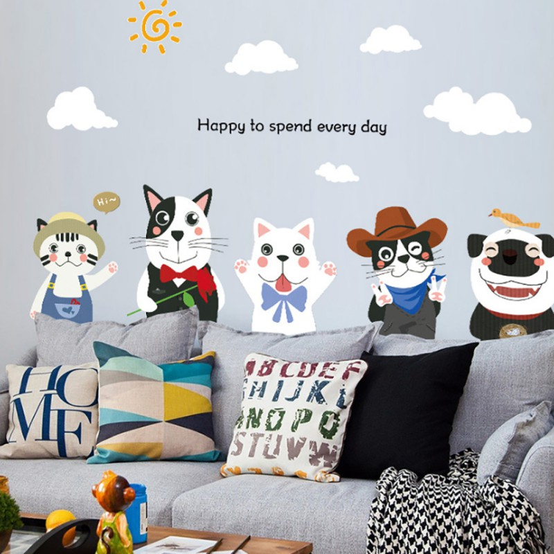 Cute Children's room cartoon wallpapers PVC translucent ive cats and dogs Waterproof Wall paper Stickers Environment Friendly thumbnail