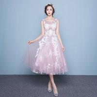 U SWEAR 2019 New Arrival Sexy V neck Pink Tea Length Bridesmaids Dresses Pretty Bohemian Wedding Guest Dress Vestidos Mujer