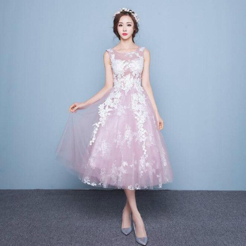 U-SWEAR 2019 New Arrival Sexy V neck Pink Tea Length   Bridesmaids     Dresses   Pretty Bohemian Wedding Guest   Dress   Vestidos Mujer