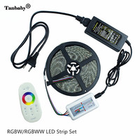Tanbaby Waterproof 5050 LED RGBW/RGBWW Strip 5M 300LEDs Neon Tape Light with 2.4g Remote Controller&12V power adapter