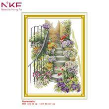 NKF New Arrival cross stitch Flower stairs needlework DMC 11