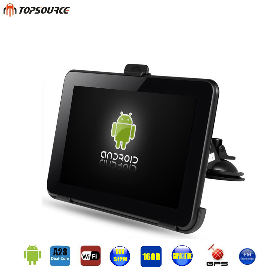 TOPSOURCE 7 Spain Android Car GPS Navigation Europe Usa Uk Truck gps Navigator WiFi 512M 16GB Russian GPS map For Navitel topsource 7 inch car gps navigation android 8gb avin automobile navigator europe usa russia spain navitel map truck gps sat nav