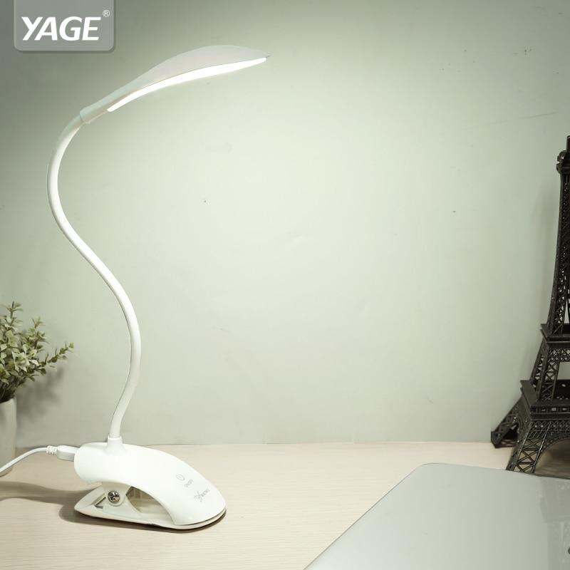 YAGE YG-5933 lampe de bureau USB LED lampe de Table 14 LED lampe de Table avec Clip lit lecture livre lumière LED lampe de bureau Table tactile 3 Modes