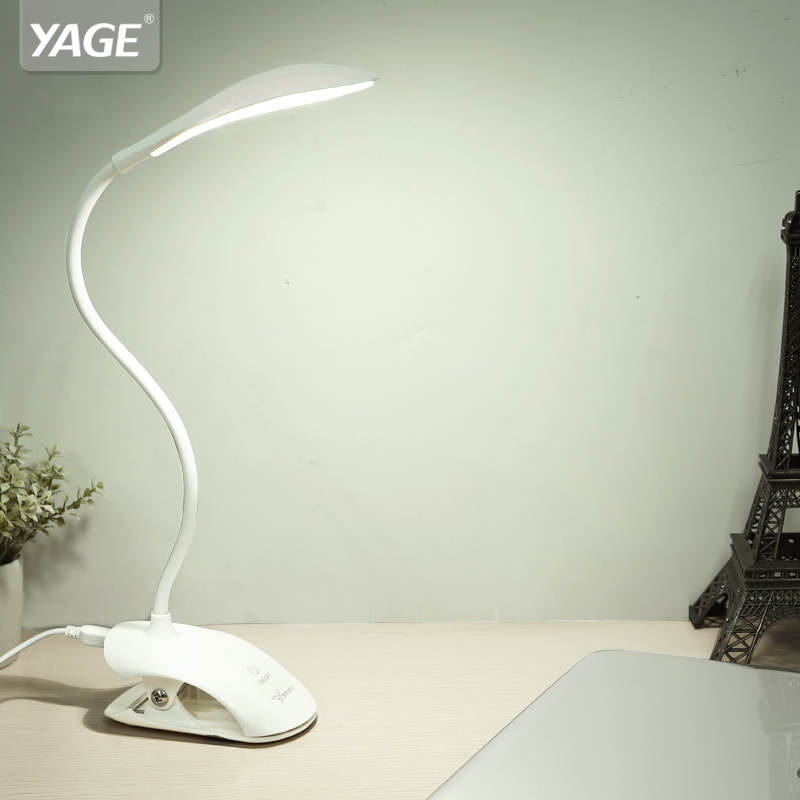 YAGE YG-5933 14 LIDERADA lâmpada de Mesa lâmpada de Mesa USB conduziu a Lâmpada de Mesa com Clipe Cama Mesa de Leitura Luz do livro LEVOU candeeiro de Mesa De Toque 3 Modos