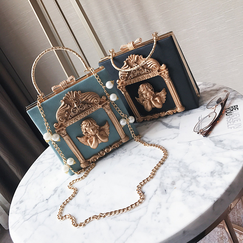 High-end Customized Baroque Angel Dinner Bag, Fashionable Studded Diamond Handbag, Cool Chain Single Shoulder Bag