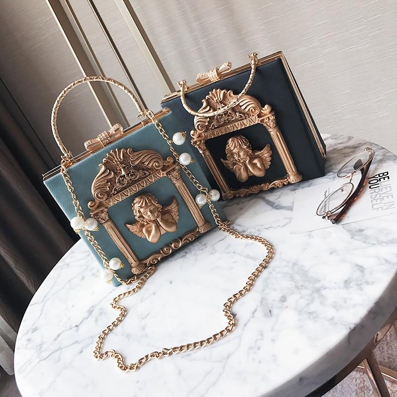 High-end Customized Baroque Angel Dinner Bag, Fashionable Studded Diamond Handbag, Cool Chain Single Shoulder Bag tassel detail studded chain bag