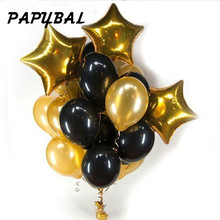 13pcs/lot 12 inch pearl black gold Latex balloons with 18 star wedding birthday party decor inflatable air ball supply