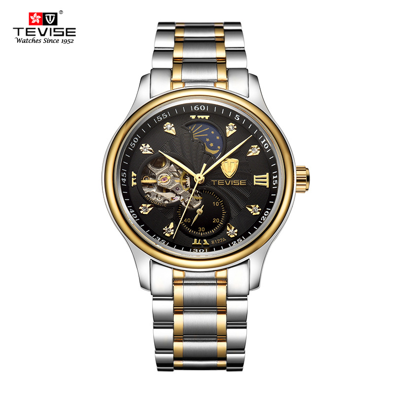 Tevise Automatic Mechanical Skeleton Self Wind Wristwatch fashion Luxury Silver Gold Stainles Steel Moon Phase Classic Watch Men tevise men automatic self wind gola stainless steel watches luxury 12 symbolic animals dial mechanical date wristwatches9055g