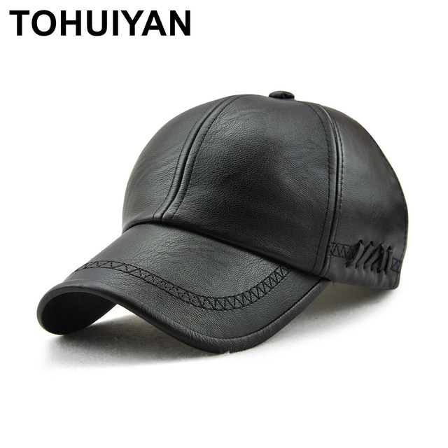 bc135fa2d58404 TOHUIYAN Mens Leather Baseball Cap Classic Curved Brim Snapback Hat Autumn  Winter Warm Caps Adjustable Bone Masculino Fitted Hat