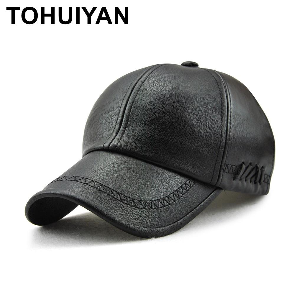 TOHUIYAN Mens Leather   Baseball     Cap   Classic Curved Brim Snapback Hat Autumn Winter Warm   Caps   Adjustable Bone Masculino Fitted Hat