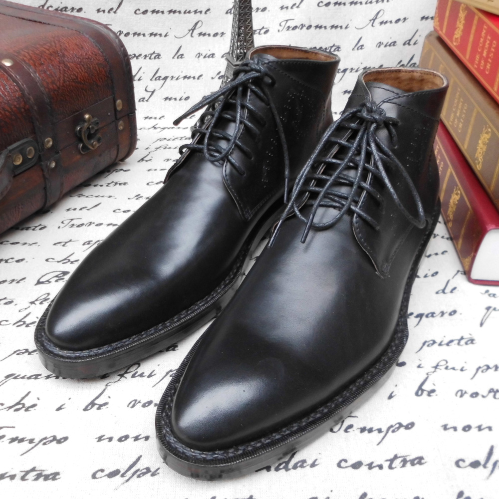 KPB16 - Custom Made Goodyear Welt Men's Handcraft Boots Shoes, Bespoke Shoes in Genuine Leather Upper/Lining/Outsole, Plus size