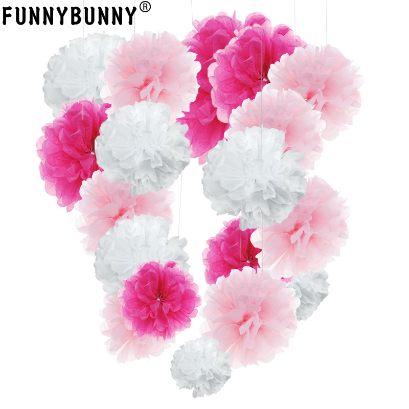 13cm Tissue Pom Poms Paper Flower Ball For Birthday Party Wedding Decoration Baby Shower Bridal Shower Festival Decorations