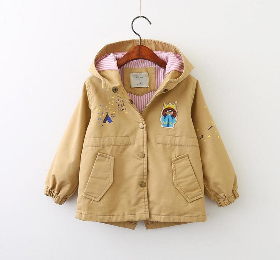 YB70615965 Autumn Fashion Girl   Trench   Hooded Solid Print Stars Girls Coat For Girl Outerwear Child Clothes Lolita Windbreaker