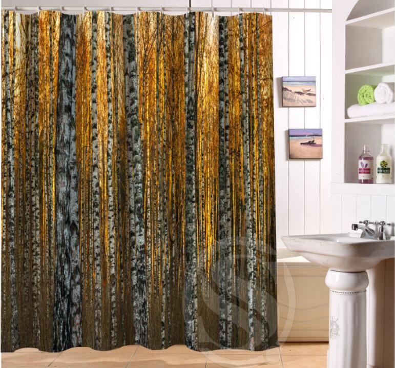 Birch forest Custom Shower Curtain polyester Fabric Bath Curtain Waterproof for Bath Decor