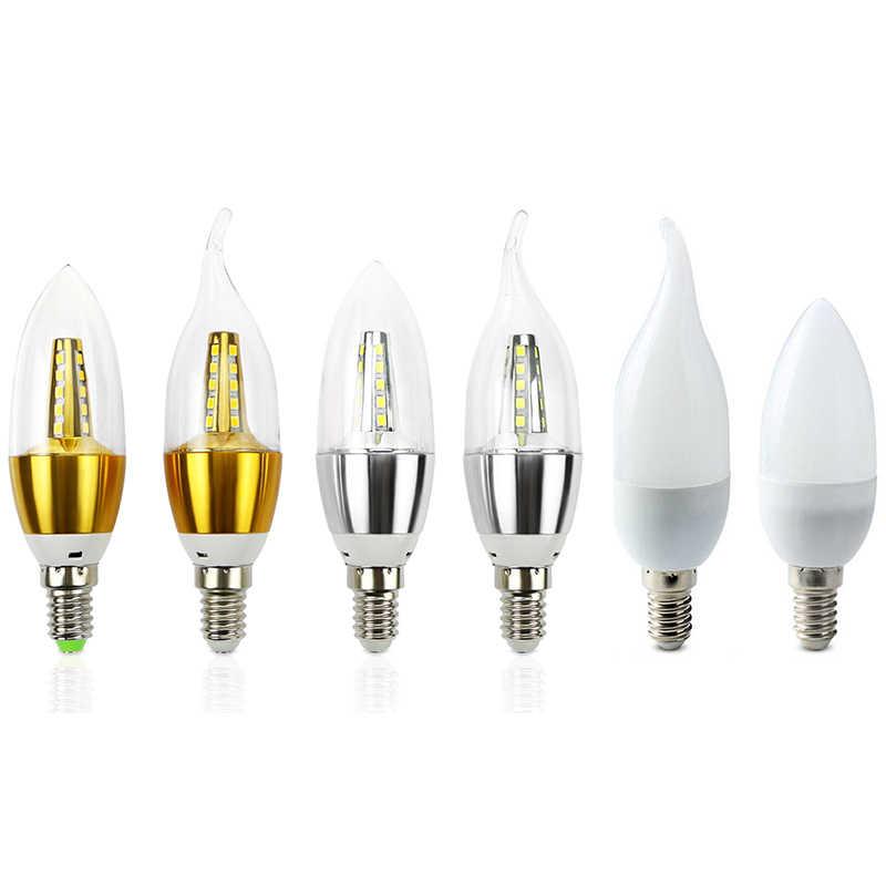 Lampada LED E14 220 V lámpara SMD 2835 ampolletas Bombillas 7 W 9 W LED luz de la vela cálido frío blanco luz de bombilla de Led bombilla Led Spotlight