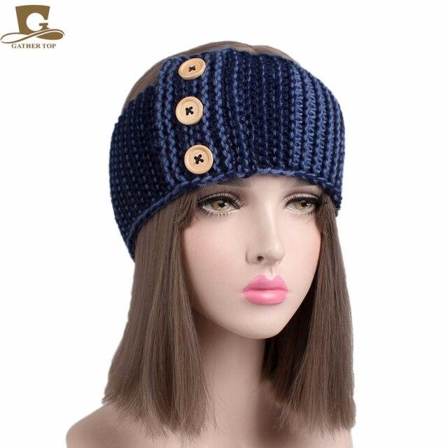 Womens Crochet Winter Warm three wood Buttons Knitted Braided Knit Wool Ear  Warmer Hat Cap Headband Hair Band 82c0b6c51b2