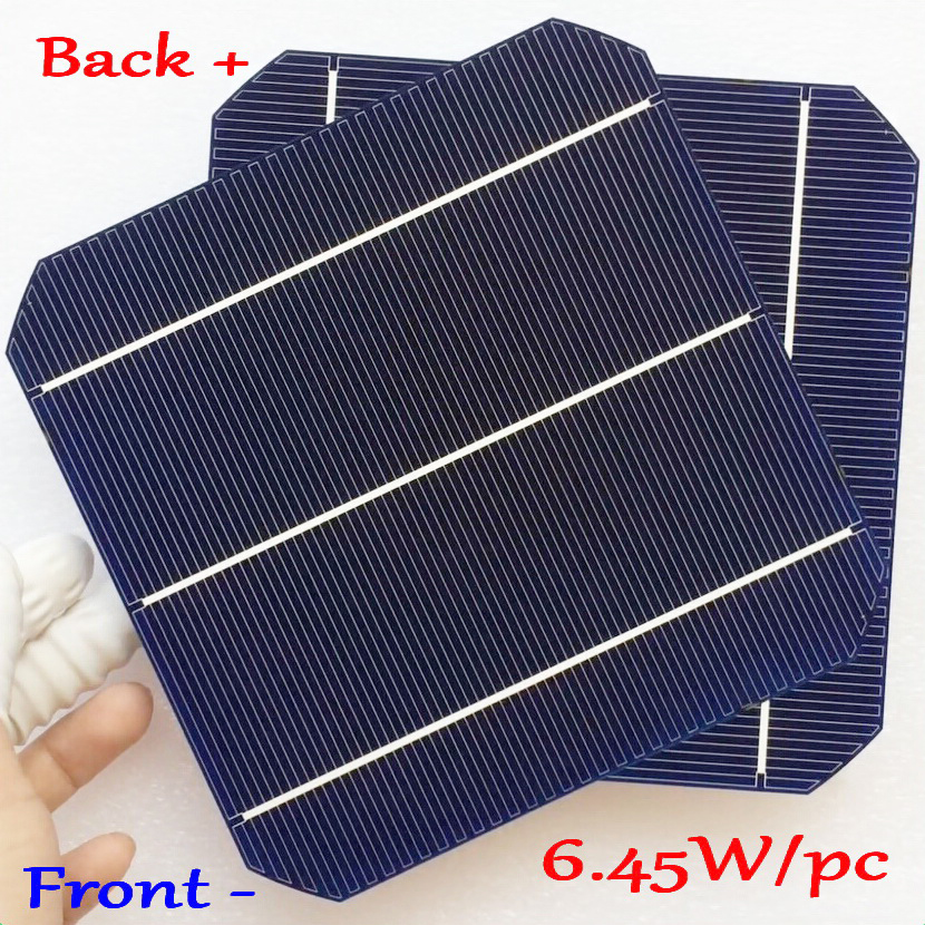 6.45W/pc mono solar cell Newest Double-side Mono Silicon Solar Panel Cell ( Front 5W/pc + Back 4.7W/pc ) with enough PV Ribbon