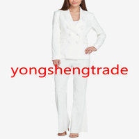 Классический белый Для женщин костюм рука с учетом Для женщин Формальные Повседневная обувь офисные брюки костюм 140