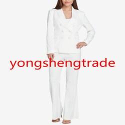 Классический белый женский костюм, ручная работа, Женская деловая одежда, Женский офисный брючный костюм 140