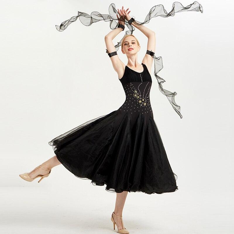 a0a0fcc2be0 Vestidos de competición de baile de salón negro adulto sin mangas strass  Waltz español Flamenco vestido de mujer ropa de actuación DN3267 - a.dupa.me