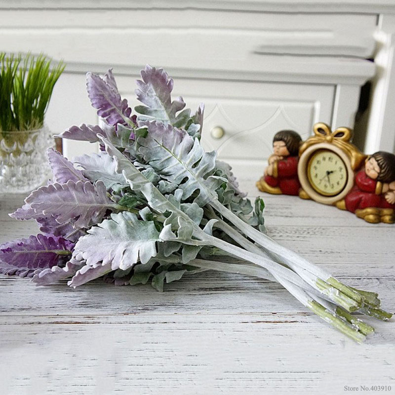 Flocked Artificial Miller plants Purple leaves Home wedding Christmas DIY decoration fake Flowers arrangement faux foliage in Artificial Dried Flowers from Home Garden