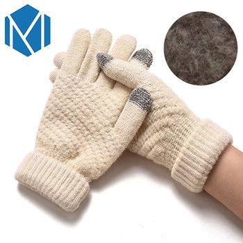 Miya Mona Hot Selling New Women Warm Winter Knitted Full Finger Gloves Mittens Girl Female Solid Woolen Gloves Screen Luvas