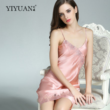 100% Genuine Silk Nightgowns Female Upscale Summer Nightdress Sexy Sleeveless Lace V-Neck Real Satin Sleepwear D33101