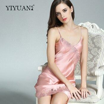 100% Genuine Silk Nightgowns Female Upscale Summer Nightdress Sexy Sleeveless Lace V-Neck Real Silk Satin Sleepwear D33101
