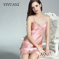 100% Genuine Silk Nightgowns Female Upscale Summer Nightdress Sexy Sleeveless Lace V Neck Real Silk Satin Sleepwear D33101