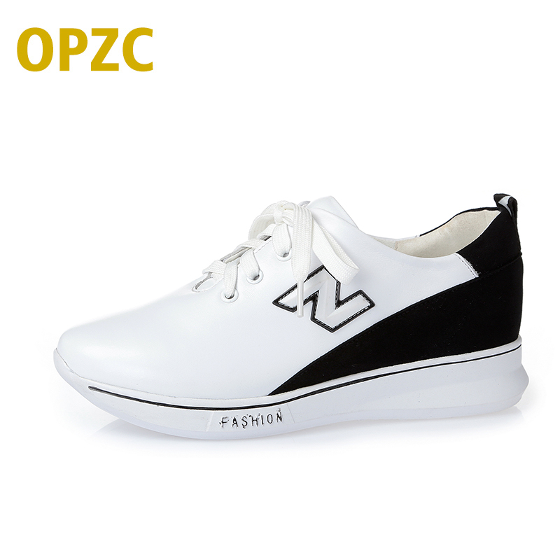 OPZC 2018 spring and summer new genuine leather casual flat women shoes non-slip wear-resistant fashion sneakers Loafers