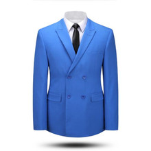 Tailor made blue men suits jacket double breasted bridegroom wedding tuxedos jacket high quality formal work suits jacket