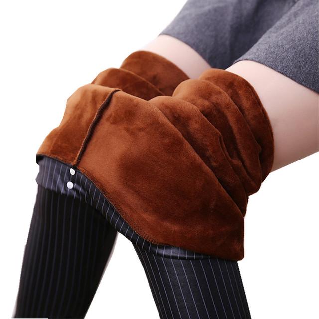 2017 Stripe Couro PU Engrossar Leggings Com Forro de Lã Quente Calças de Inverno L-XXXL Plus Size H701