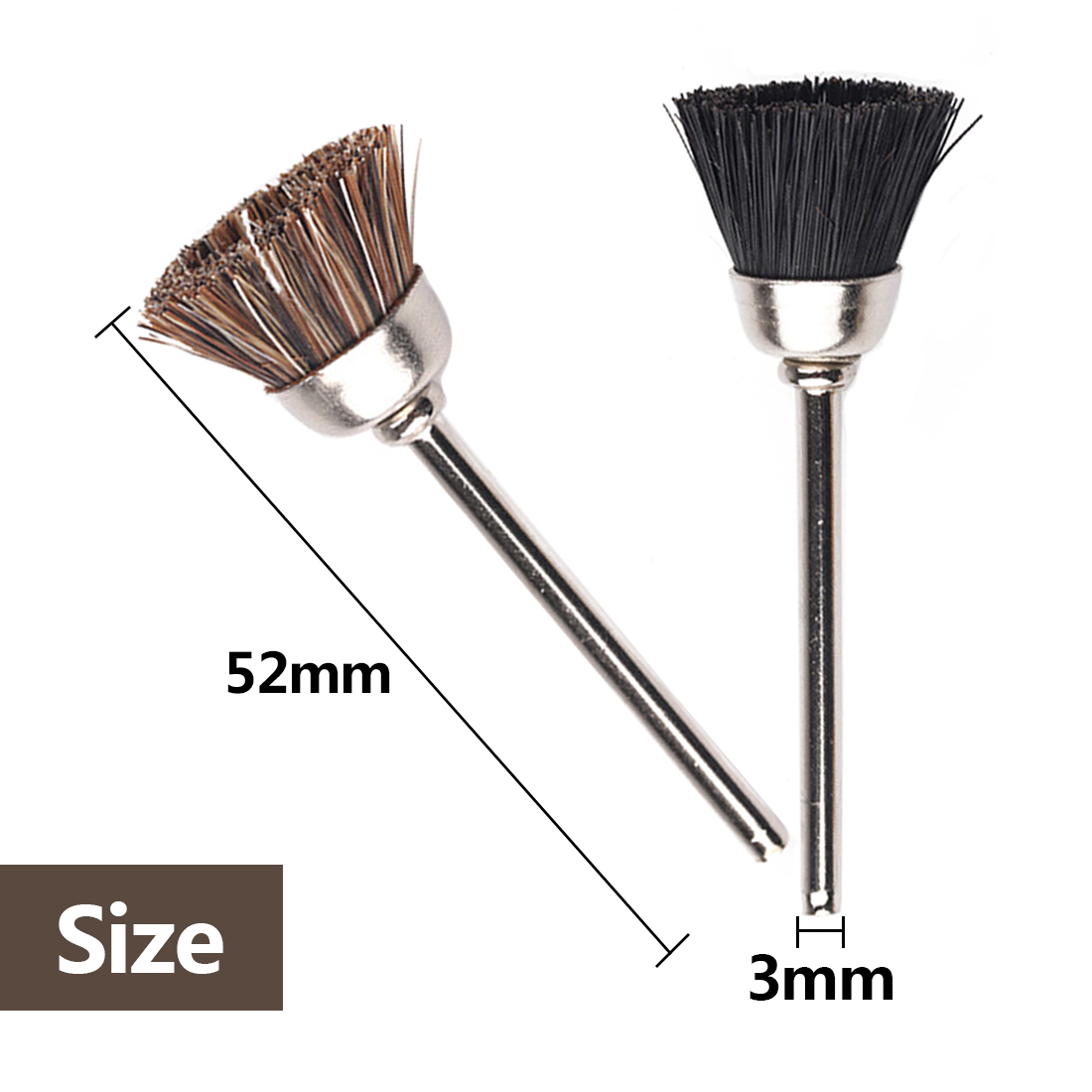 Metal Buffing Polishing 5pc 3mm Diameter Dremel Accessories Soft Pig /Horse Hair Polishing Cup Brush Wheel For Drill Rotary Tool