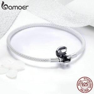Image 4 - BAMOER Classic 100% 925 Sterling Silver Love Forever Love Snake Chain Bracelets Women Sterling Silver Jewelry 17CM 19CM SCB105