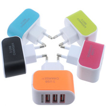 1A 5V 3 port Holes USB Charger EU Standard US Travel Light Mobile Phone Charging Head Multi usb Candy Color Quick