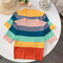 Summer Striped Round Collar Cropped T-shirts Women Short Sleeve Vintage Slim Chic Knit Crop Tops For Girls
