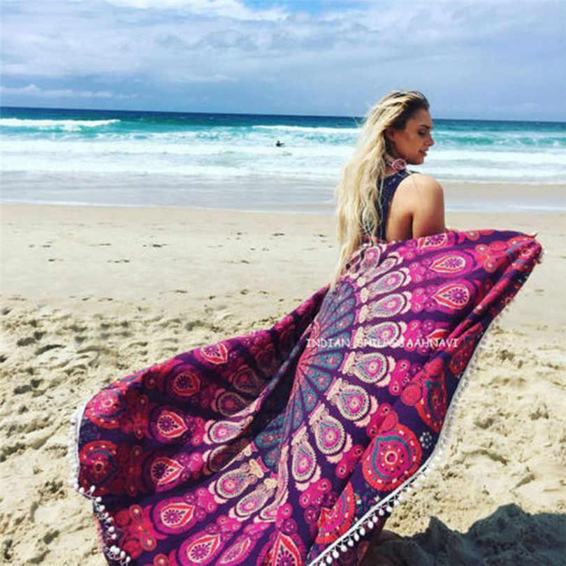 2019 # Парео Бикини Boho Летнее платье купальный костюм кимоно Туника Пляжная накидка для пляжа полотенце из Индии Бандана Шарф
