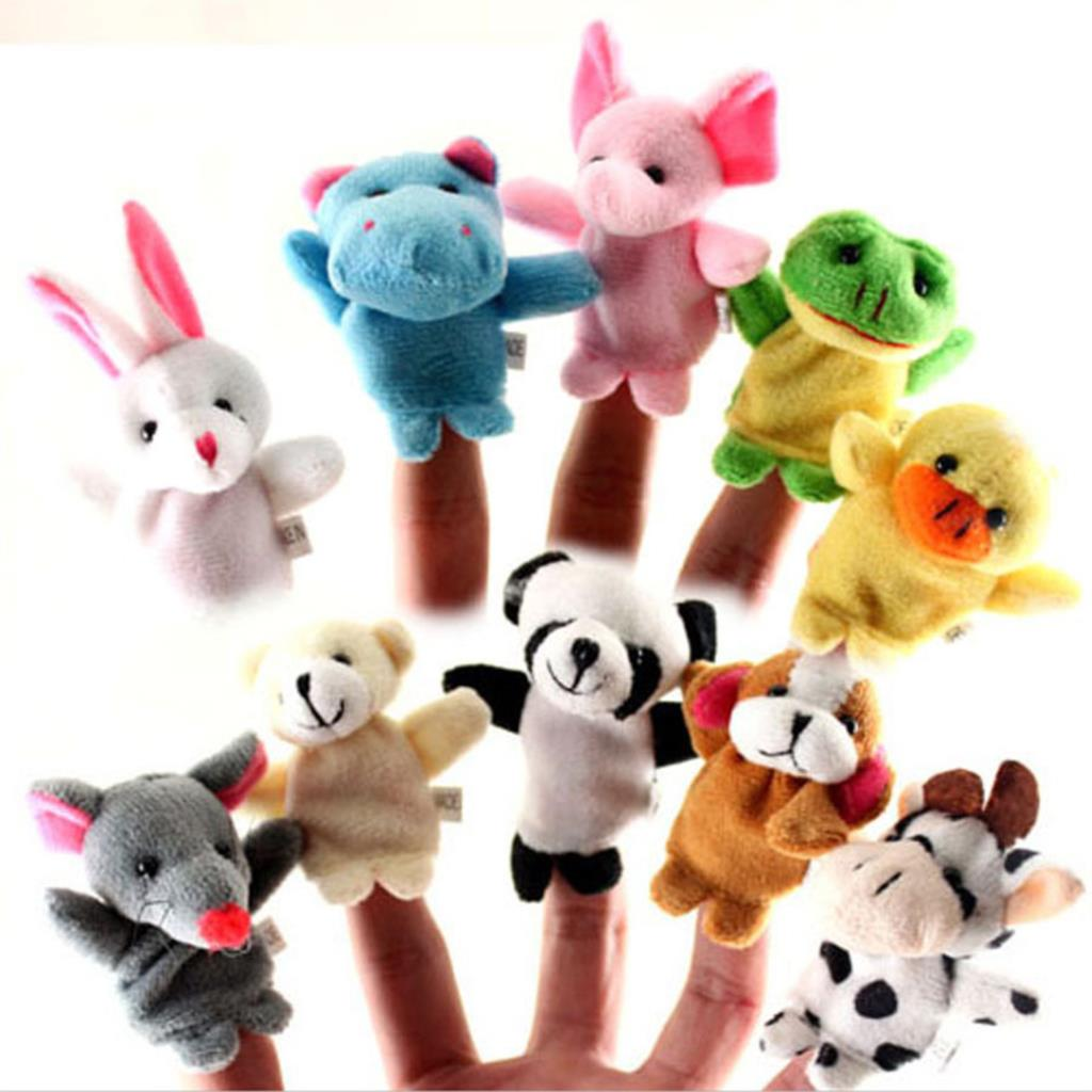 10 Pcs lot Baby Plush Toys Cartoon Happy Family Fun Animal Finger Hand Puppet Kids Learning