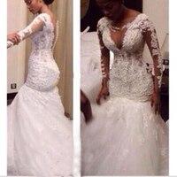 Robe De Mariee White Lace Wedding Dresses 2018 Mermaid Long Sleeves Beaded Wedding Gown Bride Dress Bridal Gown Bruidsjurken