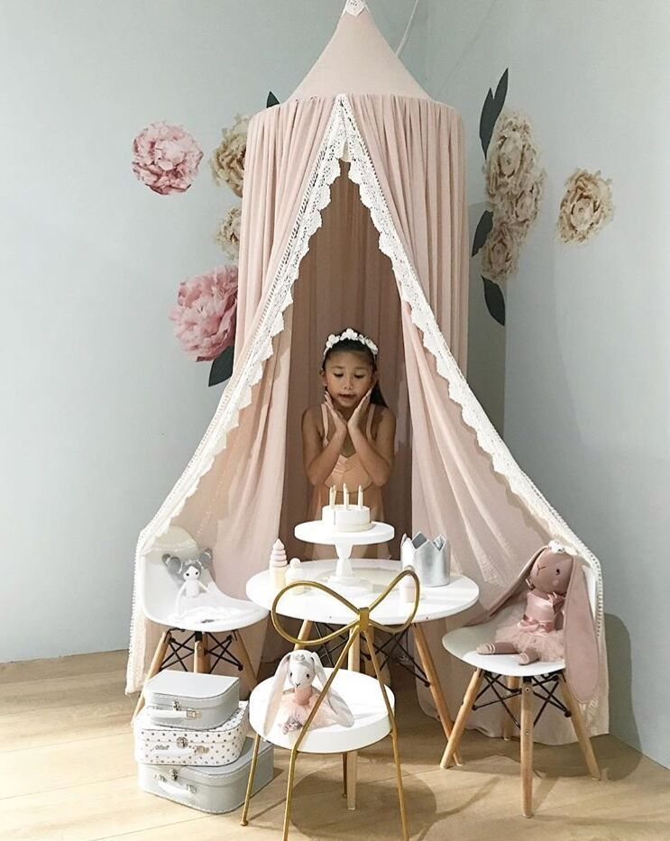 Nursery Decoration Princess Cotton Powder Bed Curtains Kids Bed Baldachin Crib Canopy Hanging Play Tent Reading Nook Kids Room