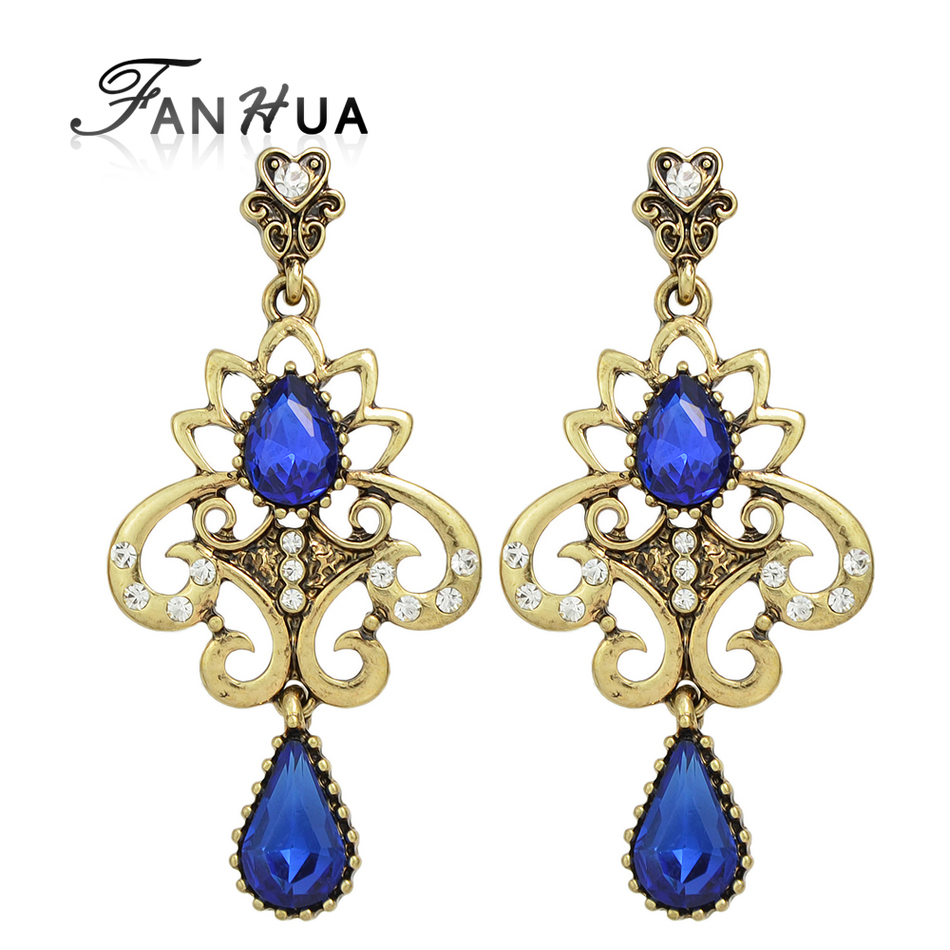 FANHUA Ethnic Style Vintage Earring Bohemian Antique Gold-Color with  Rhinestone Flower Chandelier Earrings Jewelry - Popular Vintage Chandelier Earrings-Buy Cheap Vintage Chandelier