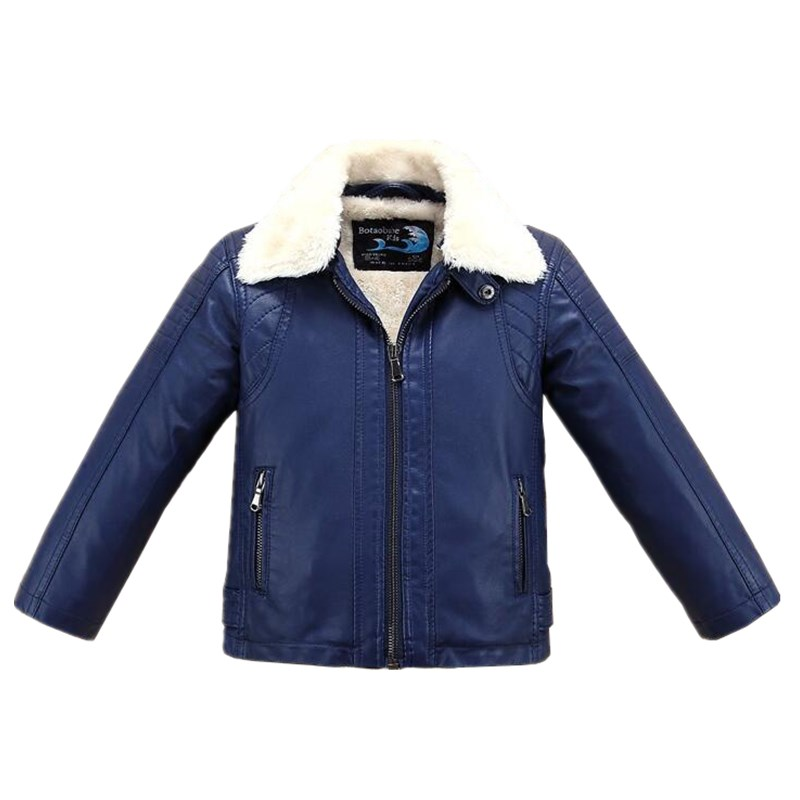 Solid Navy Blue Boys Leather Jacket White Fur Collar Fleece Thick Fleece for Fall Winter Girls Motor Coat Bomber Clothes thick fur collar boys girls leather jacket for autumn winter kids warm fleece stylish coat bomber kids jacket toddler girl