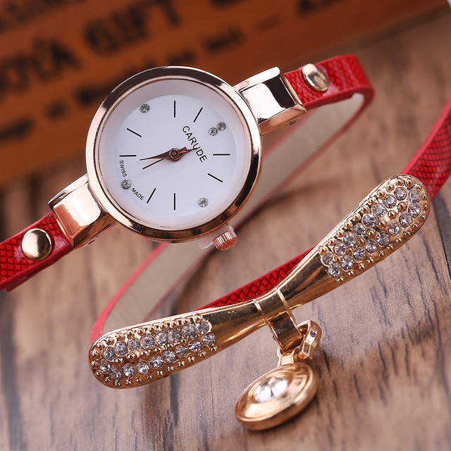 Women Watches Fashion Casual Bracelet Watch Women  Leather Rhinestone Analog Quartz Watch Clock Female